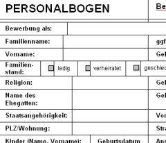 personalbogen vorlage kostenlos