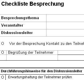 Checkliste Besprechung