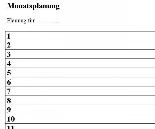 Monatsplanung