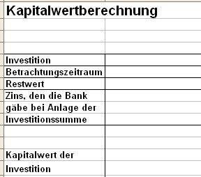 Kapitalwertberechnung