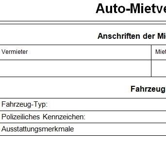 Auto Mietvertrag
